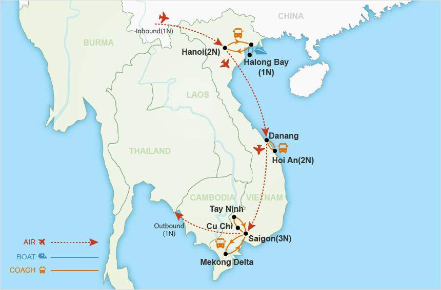 Vietnam Impressions Private Tour map