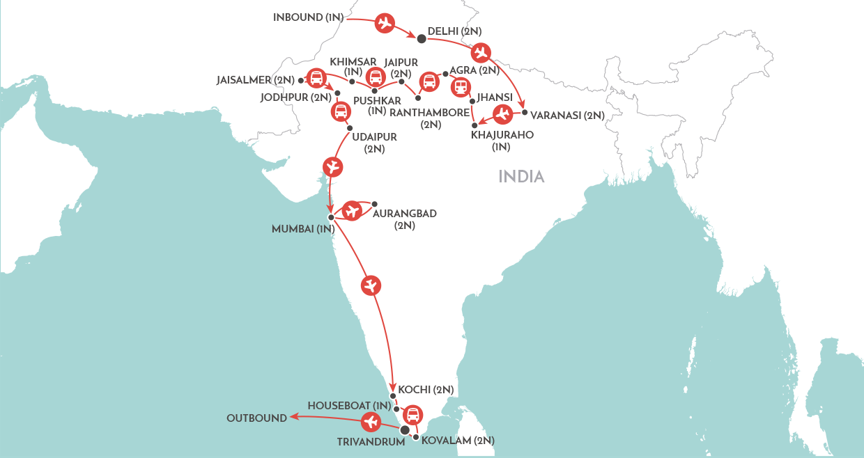 Grand Tour of India map