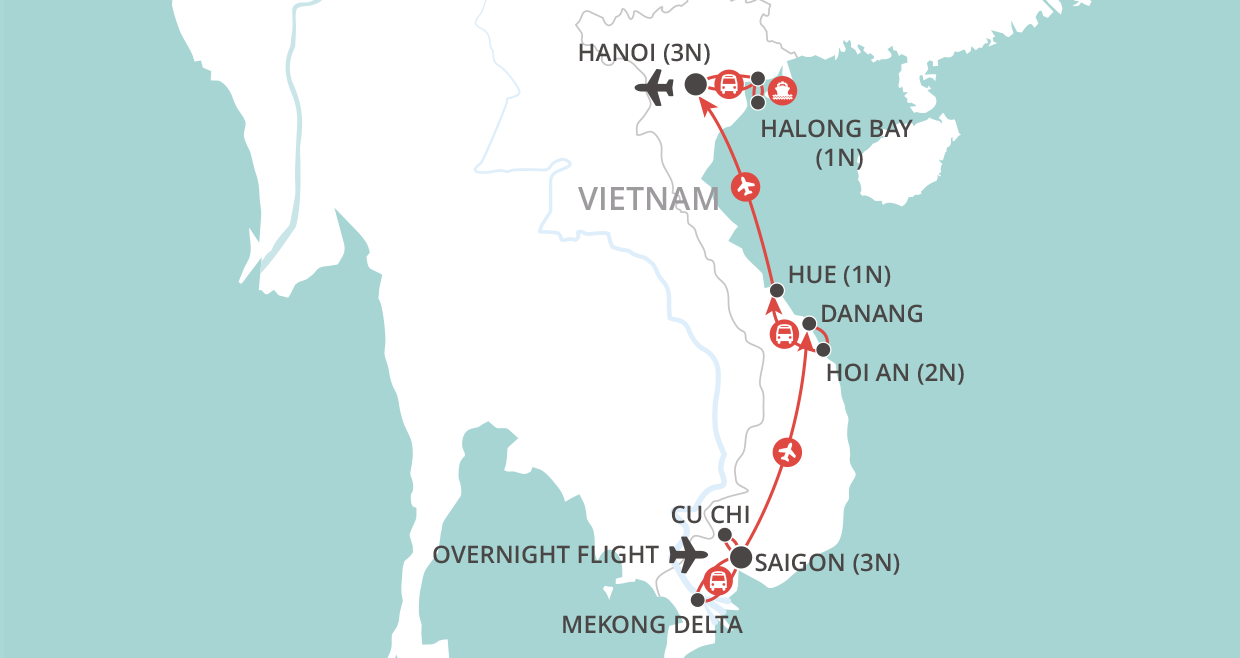 Vietnam at a Glance Tour map