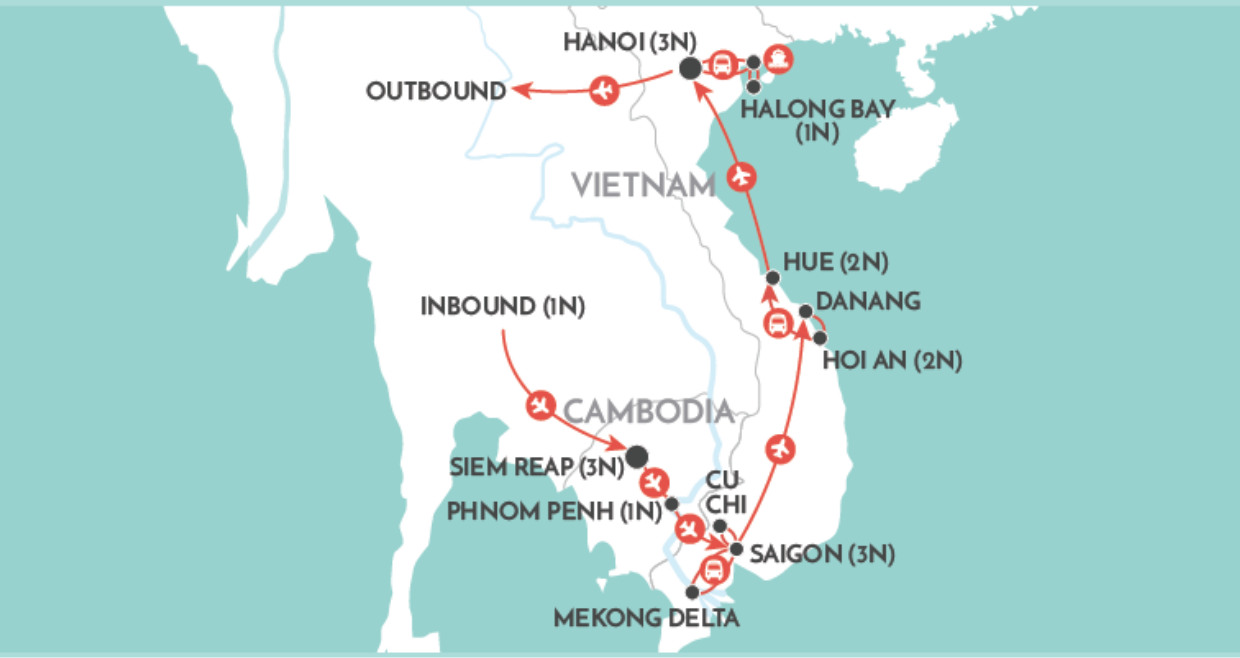 Angkor to the Bay map