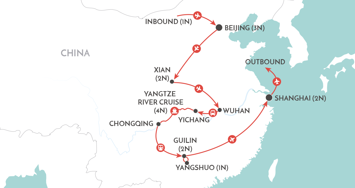 Wonders of China map
