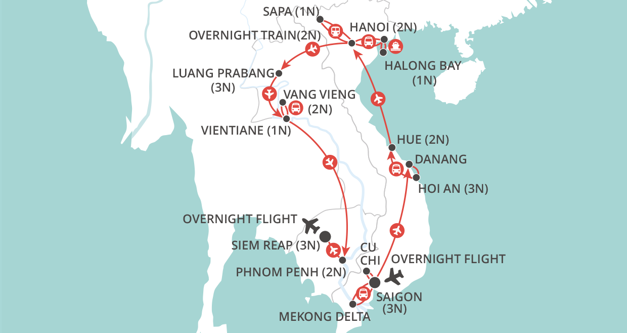 Grand Tour of Indochina map