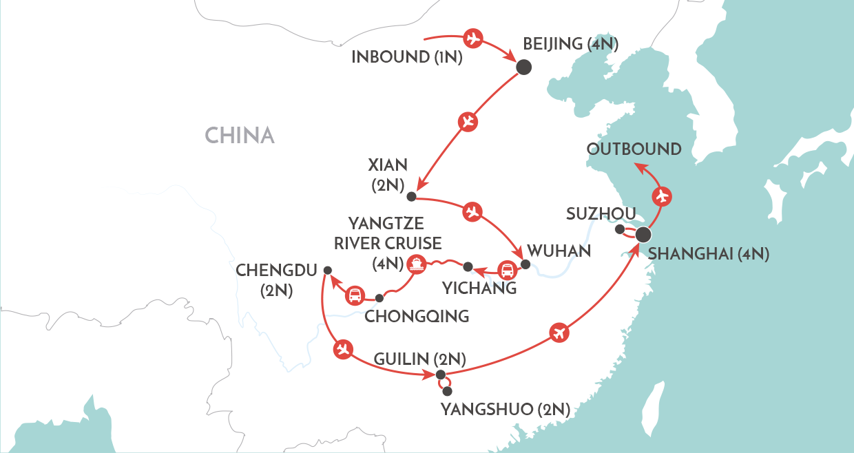 Magnificent China Tour map
