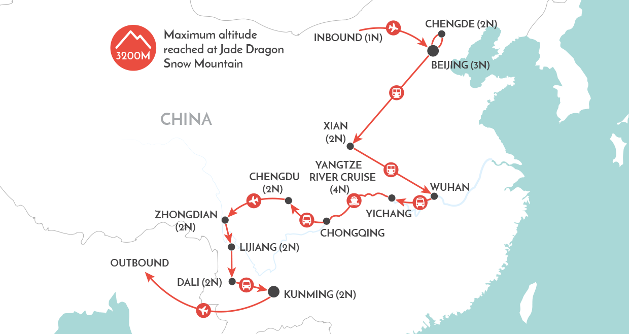 China Encounters Tour map