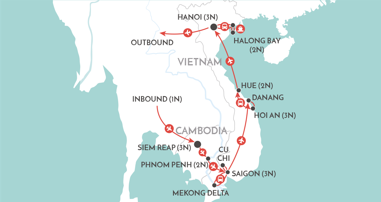 Cambodia and Vietnam Revealed Tour map
