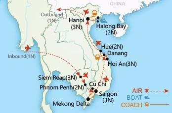 Cambodia and Vietnam Revealed map