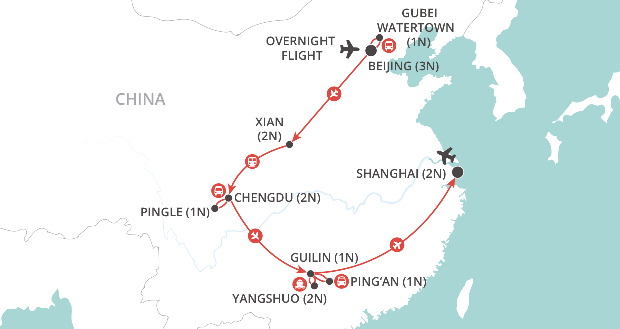 A China Adventure Tour map