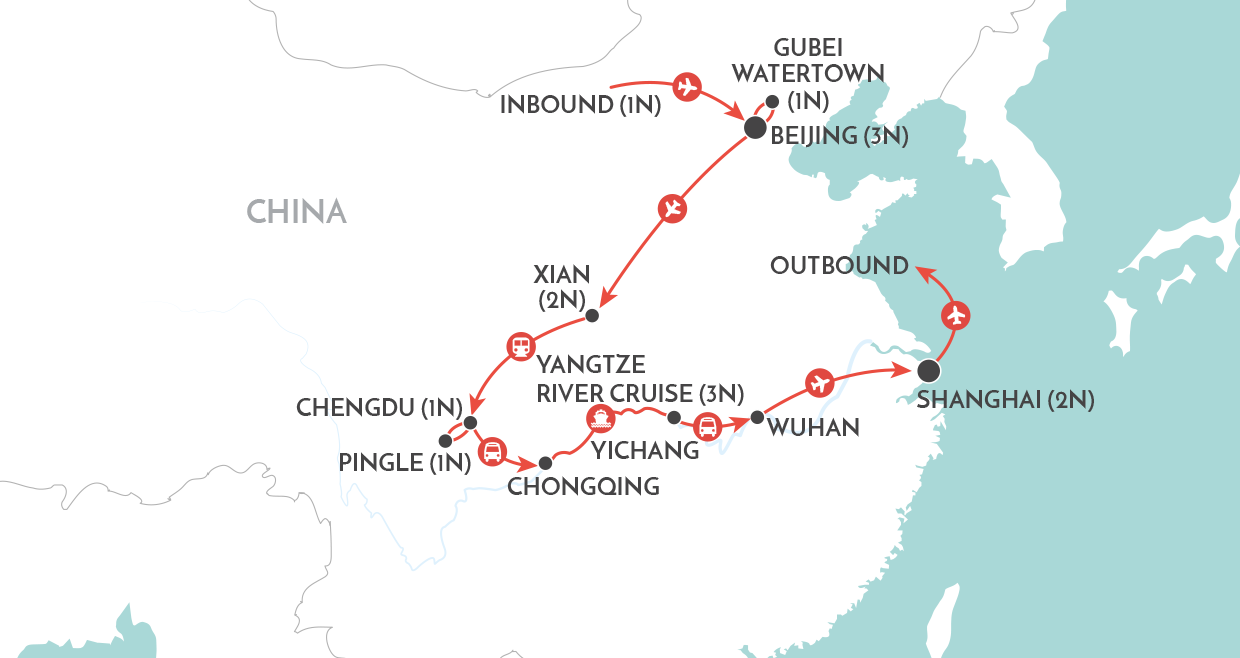 China Explorer Tour map