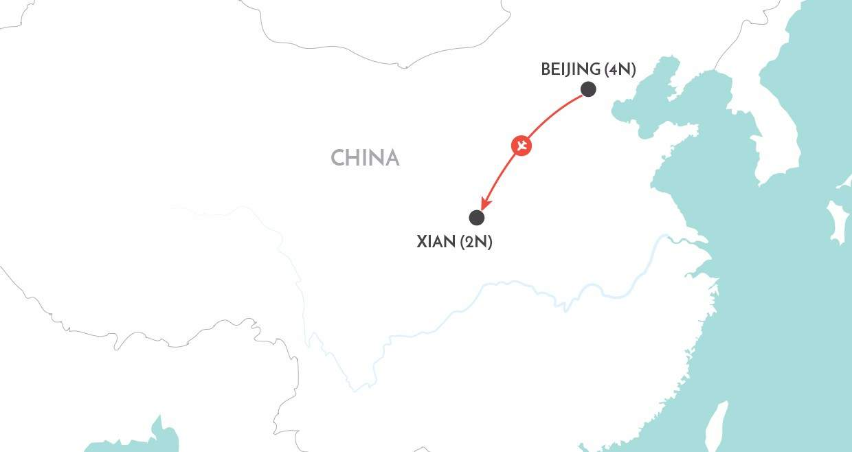 Beijing & Xian Short Stay map