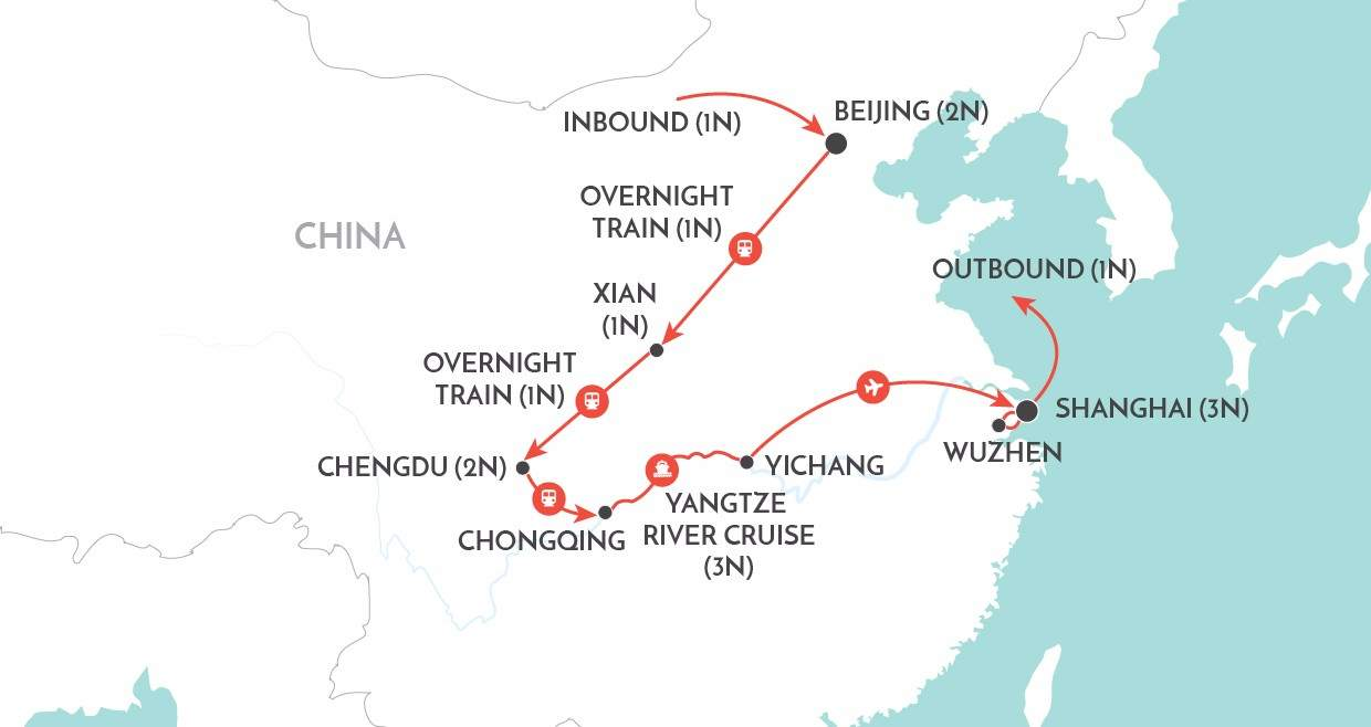 China by Rail map