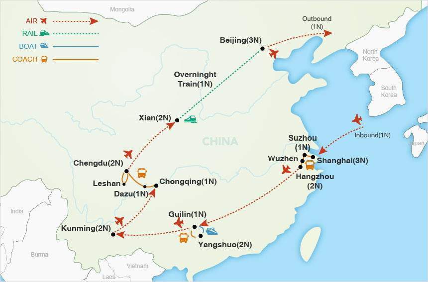 China Highlights map